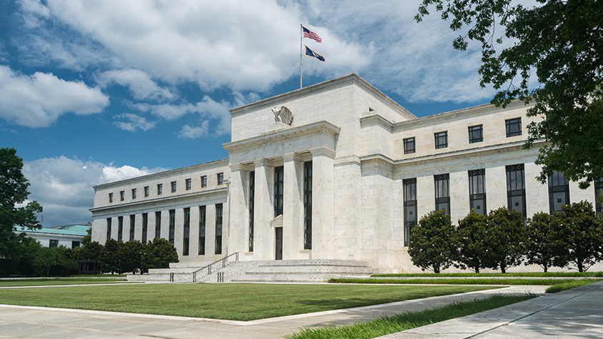 A photo of the federal reserve building
