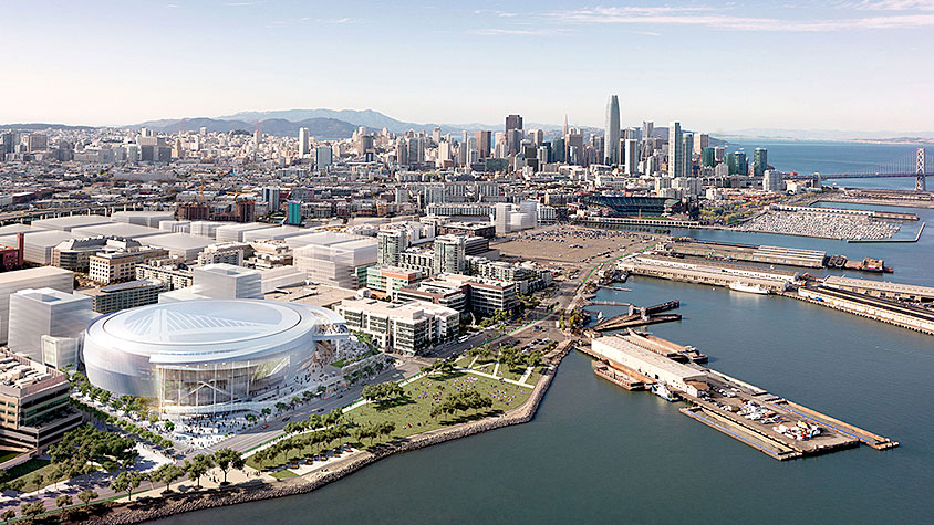 Rendering of the new Chase Center and Mission Bay