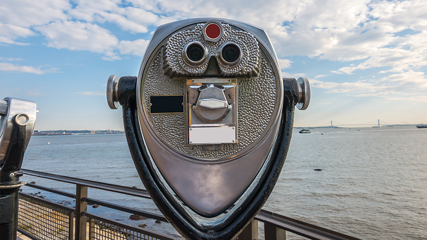 Viewfinder overlooking New York city