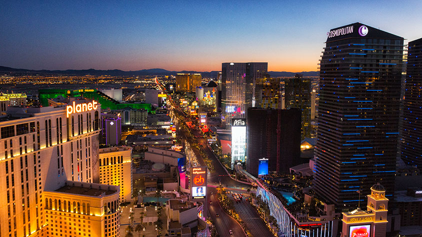 Las Vegas strip at sunset