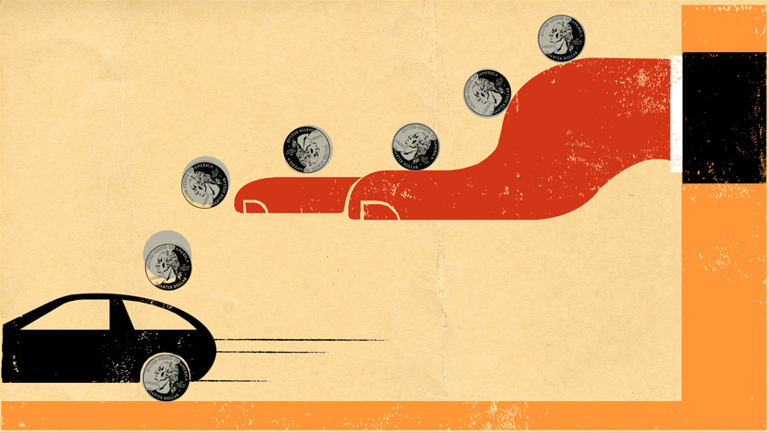 illustration of hand with coins rolling off into a moving car