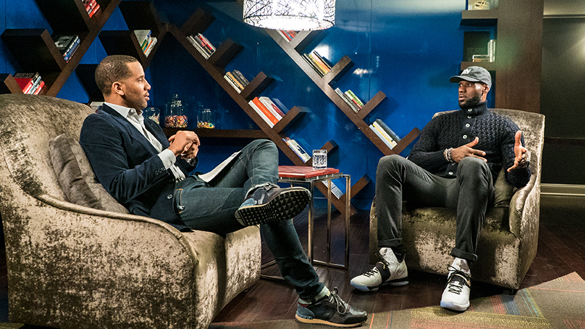 LeBron James and Maverick Carter sit in side-by-side armchairs and discuss financial lessons they've learned over their careers.