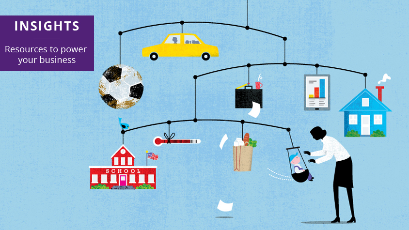 Illustration of a mobile with business and family icons
