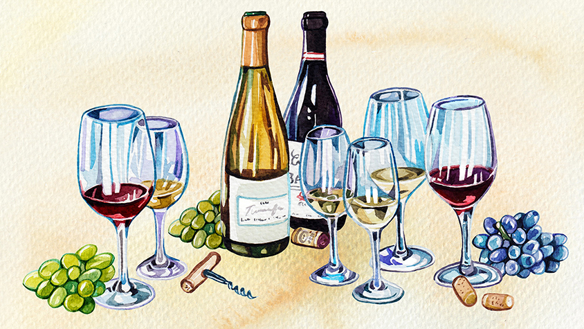 Illustration of wine and wine glasses
