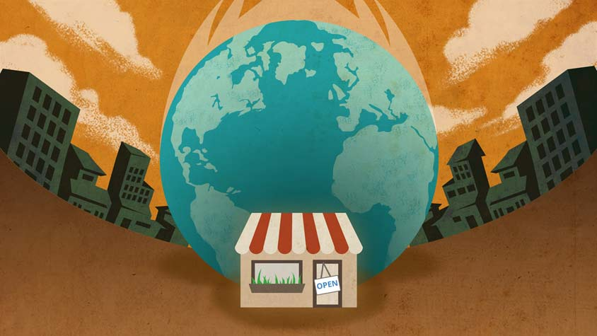 Illustration of a small store surrounded by the planet Earth