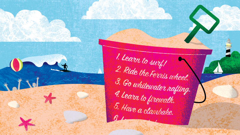 Illustration: Bucket on a beach with a list on the side