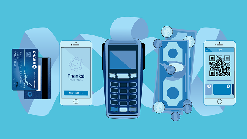 Illustration of mobile phone devices, US currency, a Chase Ink card and a portable terminal.