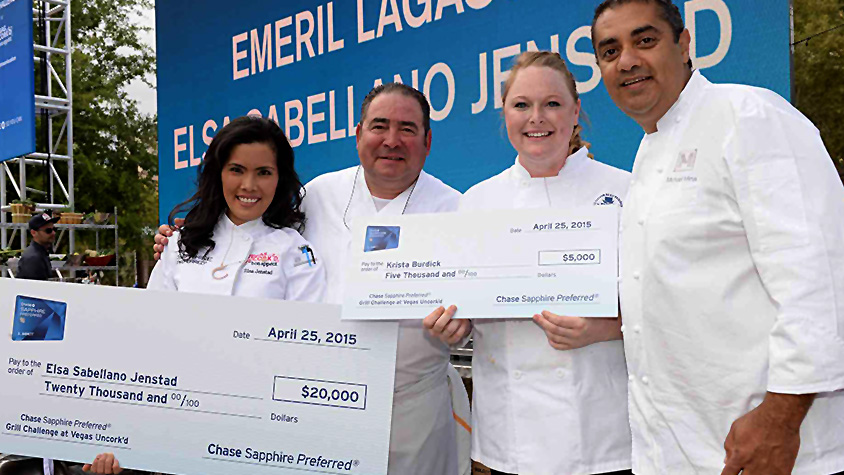 Emeril Lagasse and Michael Mina with student chefs