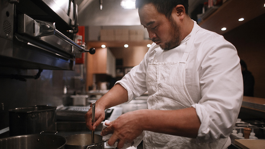 David Chang in kitchen