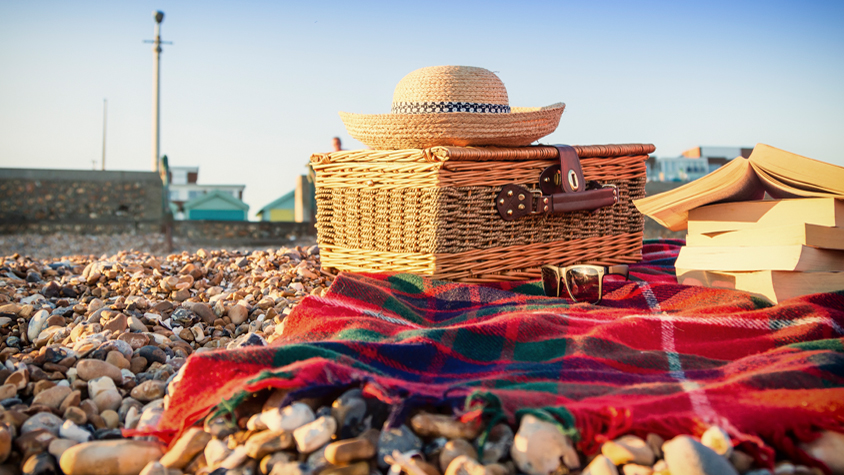 picnic basket, hat, sun glasses and books on a blanket
