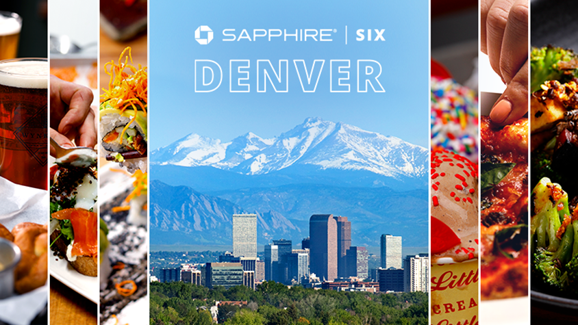 view of Denver CO with Chase logo and text Sapphire | Six Denver