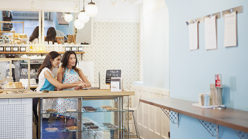 Two women business owners in shop