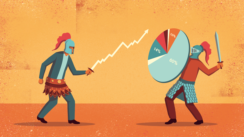 Illustration: A swordfight with business graphics