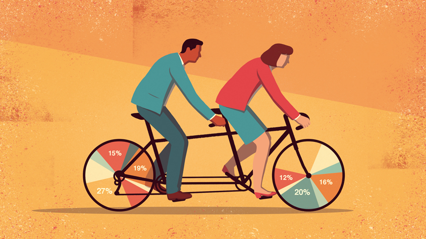 man and woman riding a bike