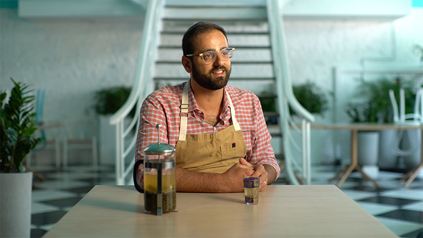 Chef Alon Shaya is shown in his kitchen work space.