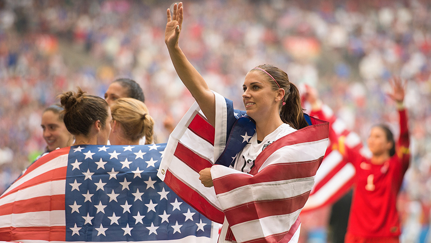 Alex Morgan on soccer field