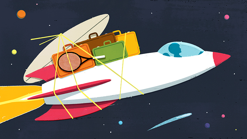 Illustration: Traveling in a rocket