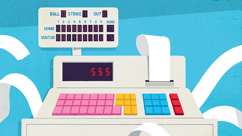 Illustration: Scoreboard and a cash register