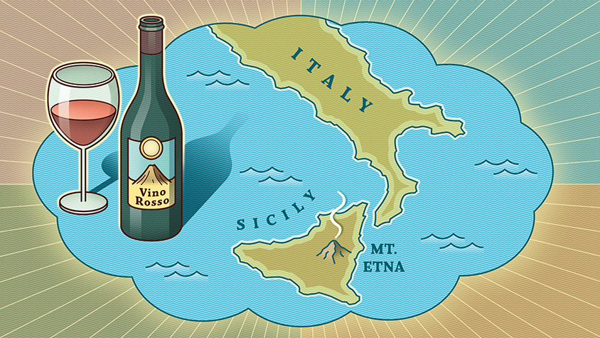 Illustration of Sicily and a wine bottle